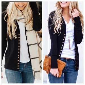 Black casual soft knit snap button cardigan